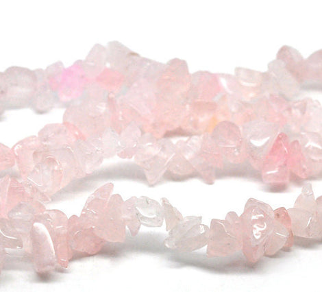ROSE QUARTZ Gemstone Chips . 1 double strand, 35 inches  gqz0013