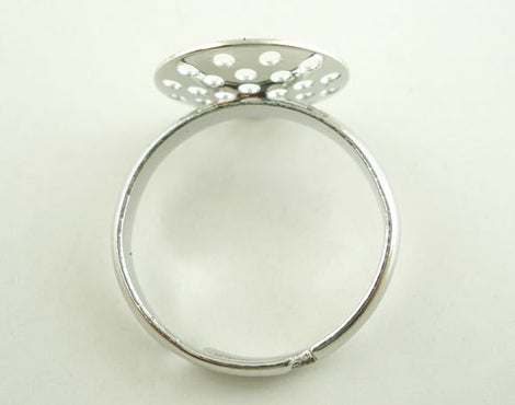5 PCs Adjustable Silver Tone Ring Base Blank Findings (US 8) . fin0268