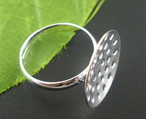 5 PCs Adjustable Silver Tone Ring Base Blank Findings . fin0267