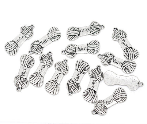 6 Silver Metal YARN CHARMS or Pendants . chs0210