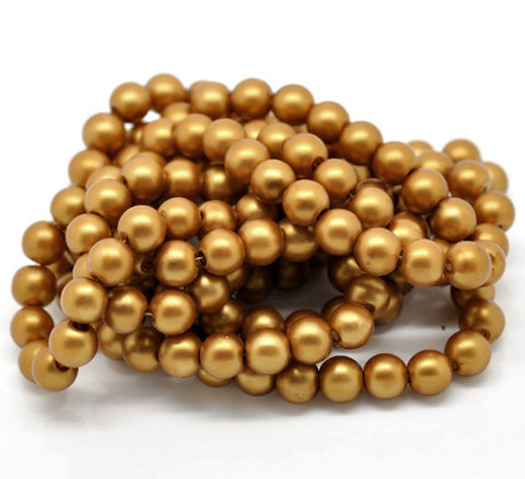10mm Deep Rich GOLDEN AMBER Matte Round Glass Pearl Beads  40 beads  bgl0473
