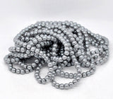 "6mm SILVER GRAY Round Glass Pearls . long 32"" strand . about 145 beads bgl0022"