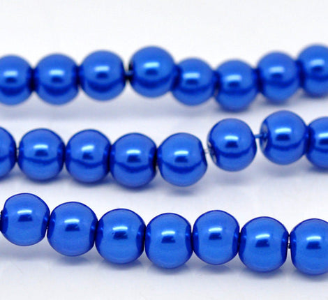 6mm SAPPHIRE BLUE Round Glass Pearls . 1 long strand . about 145 beads  bgl0409