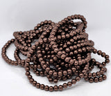 "6mm CHOCOLATE BROWN Round Glass Pearls . long 32"" strand . about 145 beads bgl1588"