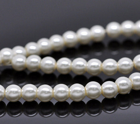 "6mm OFF WHITE IVORY Round Glass Pearls . long 32"" strand . about 145 beads bgl0015"