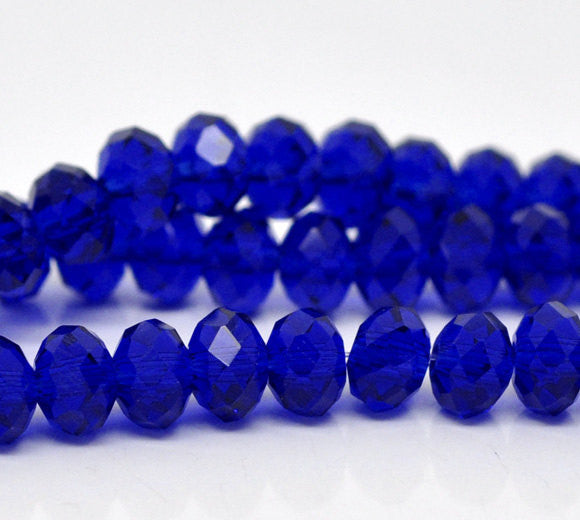 "12"" Strand Crystal Rondelle Beads . DEEP SAPPHIRE 4mm . about 100 beads bgl1039"