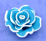 2 Medium TURQUOISE BLUE Teal Polymer Clay Rose Flower Beads pol0015