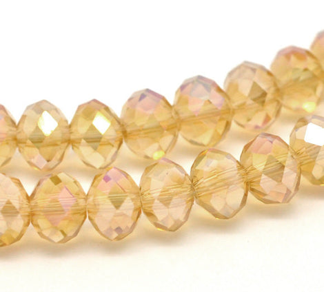 8x6mm CHAMPAGNE AB Coated Crystal Glass Faceted Rondelle Beads . 24 pieces  bgl0555
