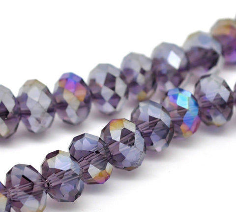 8x6mm PURPLE AMETHYST AB Crystal Glass Faceted Rondelle Beads . 24 pieces bgl1012