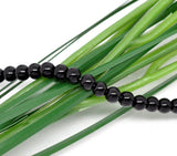 "6mm JET BLACK Round Glass Pearls . long 32"" strand . about 145 beads  bgl0736"