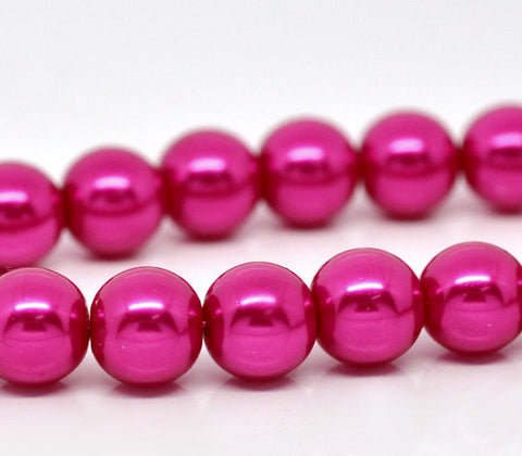 10mm HOT PINK FUCHSIA Round Glass Pearls  40 beads  bgl0469