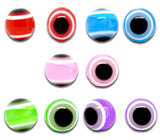 100 Mixed Multicolor Evil Eye Stripe Round Resin Spacer Beads 10mm bac0056