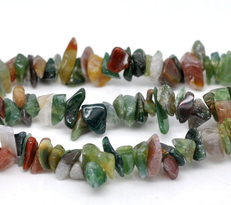 INDIAN AGATE Gemstone Chips . 1 double strand . 35 inches gag0091
