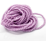 "4mm VIOLET ORCHID Purple Pink Round Glass Pearls . long 32"" strand . about 210 beads . Bgl0402"