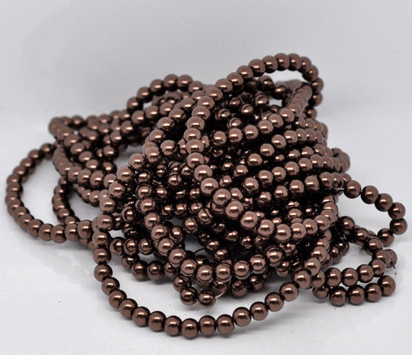 8mm Dark RICH CHOCOLATE BROWN Coffee Colored Glass Pearls . 50 beads . bgl0441
