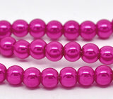 8mm HOT PINK FUCHSIA Glass Pearls . 50 pieces . bgl0431