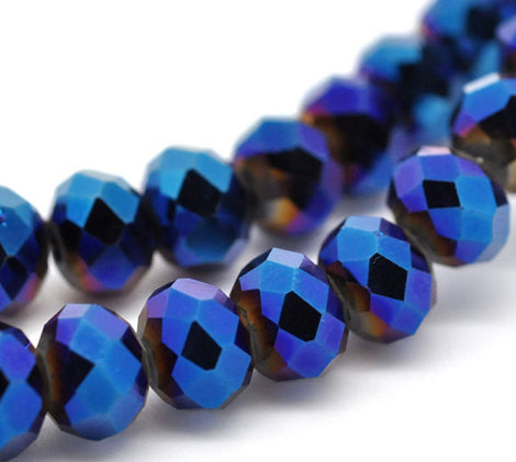 4x3mm Dark Royal Blue AB Color Crystal Glass Faceted Rondelle Beads  48 beads bgl1047