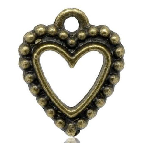 6 Antique Bronze Metal OPEN HEART Charm Pendants Chb0051