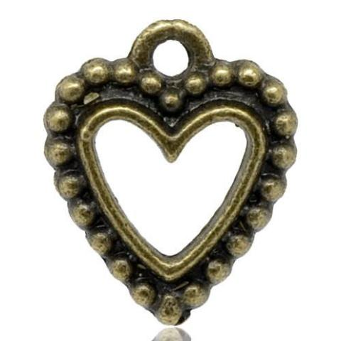 6 Antique Bronze Metal OPEN HEART Charm Pendants with beaded edge.  Chb0051