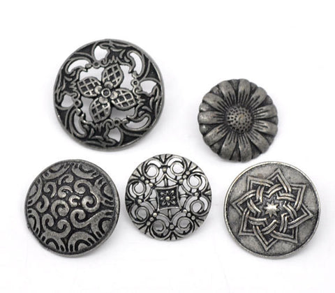 10 Mixed Silver Tone Carved Metal Buttons 17mm-23mm for sewing, scrapbooking, jewelry making but0165