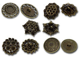 5 LARGE Mixed Bronze Tone Carved Metal Buttons 23mm-29x27mm for sewing, scrapbooking, jewelry making but0166