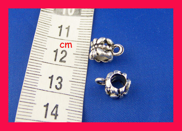 4 Silver Tone Flower Bail Beads. Fits European Style Bracelets and Necklace Chains 12x8mm FBA0009