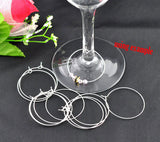 Bulk Package 100 LARGE SILVER Plated Wine Glass Charm Rings or Earring Hoops 40x35mm  fin0085b