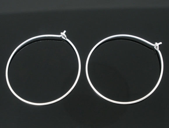12 MEDIUM SILVER Plated Wine Glass Charm Rings or Earring Hoops 25mm fin0008a