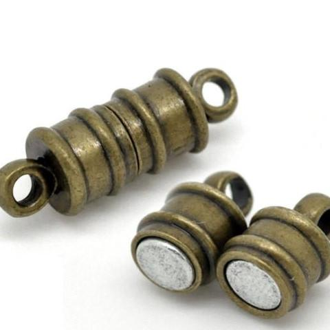 2 Antique Bronze Strong Magnetic Clasps 17x6mm  .  fcl0069