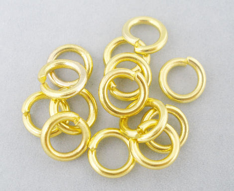 50 Gold Plated Open Jump Rings 6mm x 1mm, 18 gauge wire  jum0061a