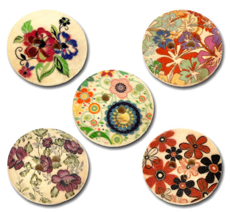 10 Large Painted 2-Hole FLORAL WOOD BUTTONS . 23mm  . Scrapbooking . Beading . Sewing  but0174