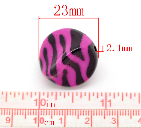 20 HOT PINK Helix Wavy Shaped Zebra Striped Acrylic Spacer Beads 23x18mm  Bulk Package  bac0196