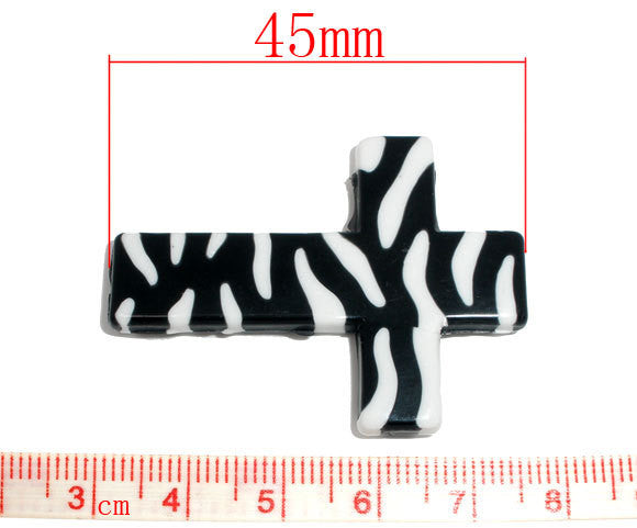 4 Zebra Stripe Print Lucite CROSS beads, black and white . bac0234