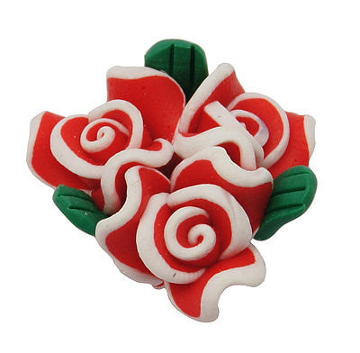 4 RED, WHITE, and GREEN Polymer Clay Triple Rose Flower Beads  23x15mm pol0029