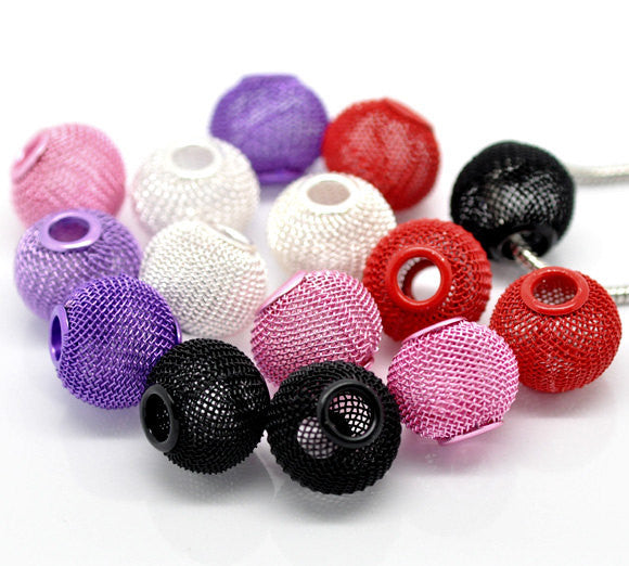 10 Large Wire Mesh Beads for Hoop Earrings . 18x16mm, mixed colors, large holes, fits European Chains bme0328