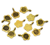 6 Antique Gold Tone Metal FLOWER Swirl Glue-On Bails for Pendants  15x11mm   flat back . fba0034