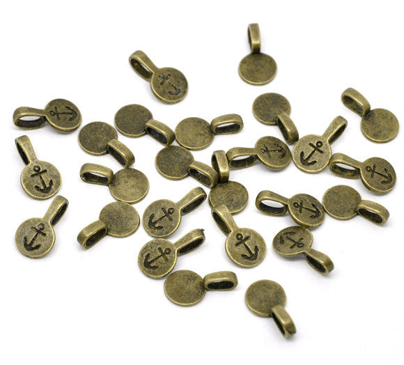 10 Antique Bronze Tone Metal CIRCLE DISC Round Glue-On Bails for Pendants 18x10mm flat back fba0049