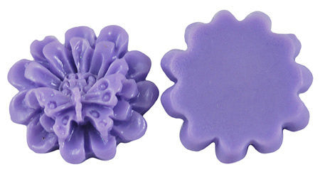 10 Unique Resin Acrylic BUTTERFLY and FLOWER CABOCHONS flat back in Lavender Purple  17mm cab0095