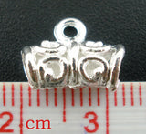 10 Silver Plated Swirl Filigree Pattern Tube Spacer Beads with Bail. 11mm x 5mm FBA0004a