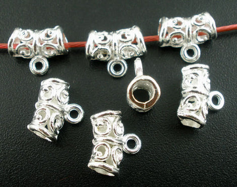 100 bulk pkg Silver Plated Swirl Filigree Pattern Tube Spacer Beads with Bail. 11mm x 5mm FBA0004b