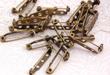 30 ANTIQUE BRONZE GOLD Metal Pin Backs, 27mm long pin0065