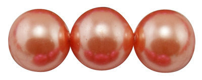 "4mm CORAL TANGERINE Round Glass Pearls . long 32"" strand . about 210 beads . Bgl0406"