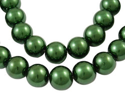 8mm OLIVE FOREST GREEN Round Glass Beads  50 beads, bgl0440
