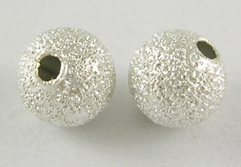40 Silver Stardust Metal Round Beads  6mm . bme0267