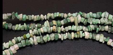 GREEN SPOT STONE Jasper Gemstone Chips Beads, double strand, 35 inches, gja0044