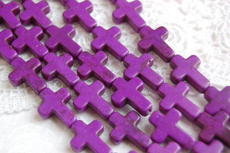 1 Strand Small Howlite Stone Cross Beads in Grape Purple 16x12mm. Sideways cross how0060