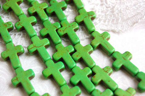 1 Strand Small Stone Cross Beads in GREEN. Sideways cross 16x12mm   how0059