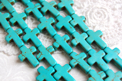 1 Strand, 20 beads . Small Stone Cross Beads in TURQUOISE BLUE 20mm x 15mm how0040