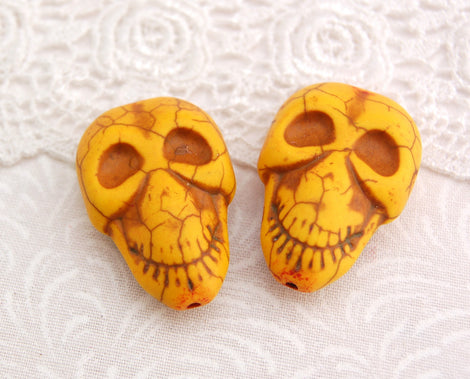 2 Large Alien Skulls Stone Beads in SUNFLOWER YELLOW  32mm x 21mm how0258