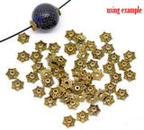 50 Brass Gold Tone Flower Bead Caps Findings 8x7mm (Fit 10-14mm Beads) fin0143